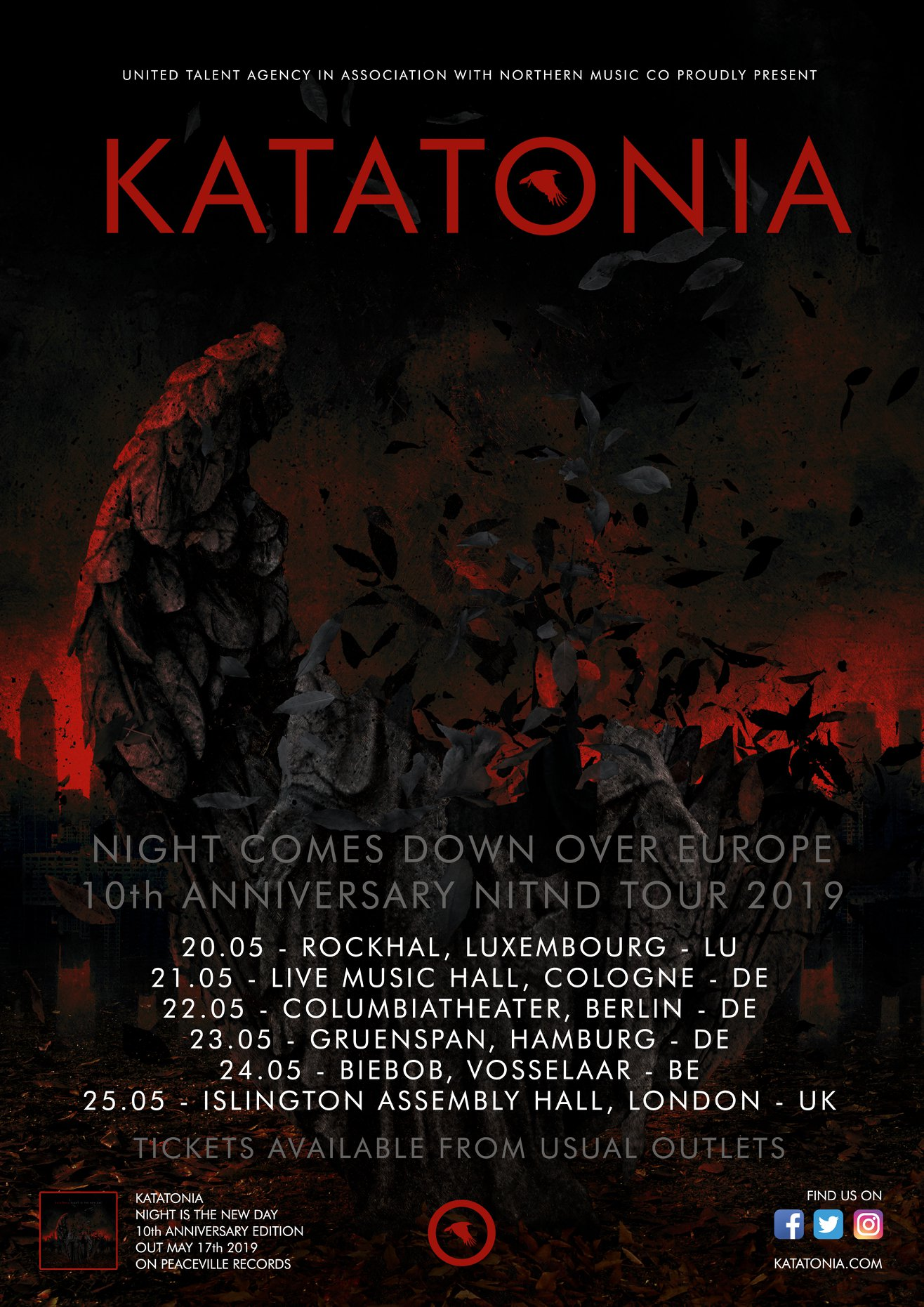 "Katatonia Announce ""Night is the New Day"" Tenth Anniversary European Tour"