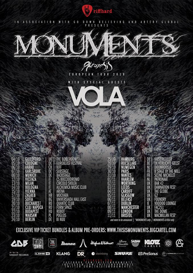 Monuments and VOLA Announce Fall European Tour