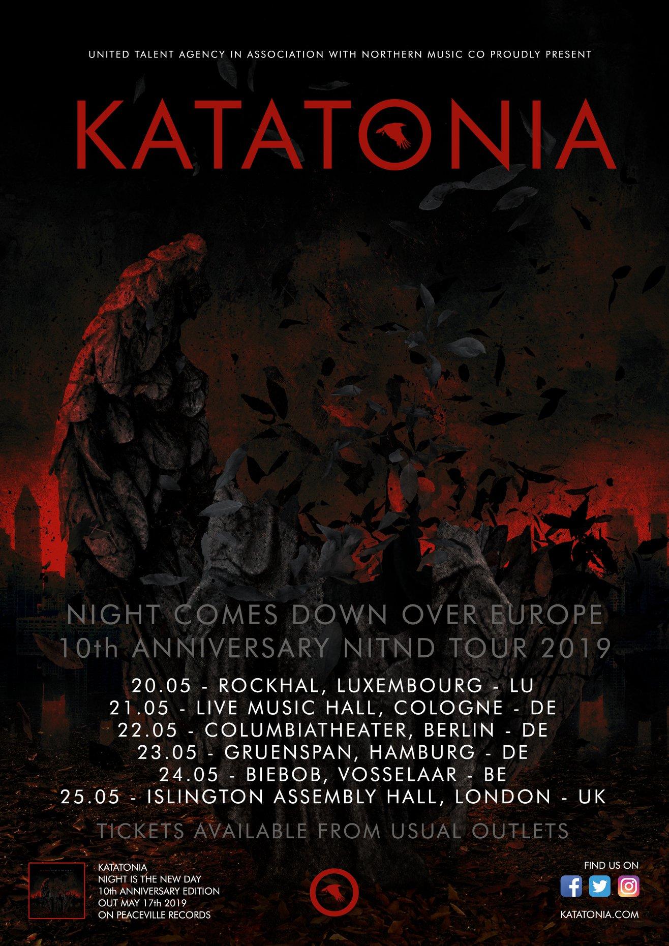 "Katatonia Announce ""Night is the New Day"" Tenth Anniversary European Tour"